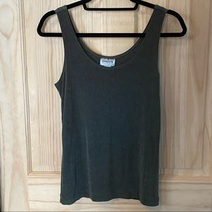 Chico's Travelers Size 0 Acetate Tank Top Olive